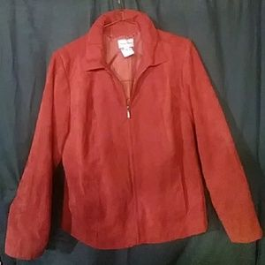 Salmon pink color suede blazer jacket